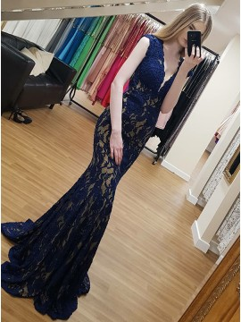 Mermaid Deep V-Neck Floor-Length Blue Lace Formal Dress
