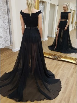 Two Piece Bateau Long Black Chiffon Prom Dress with Beading