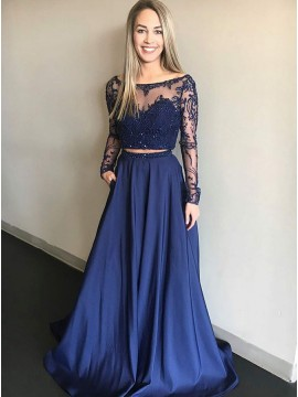 Two Piece Bateau Long Blue Prom Dress with Sleeves Pockets