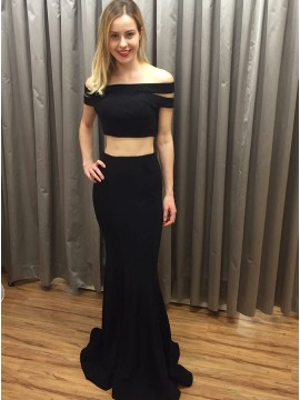 Two Piece Off-the-Shoulder Open Back Long Black Prom Dress