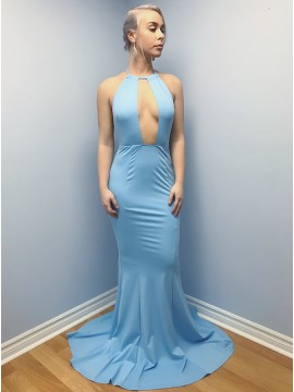 Mermaid Halter Backless Sweep Train Blue Prom Dress with Keyhole
