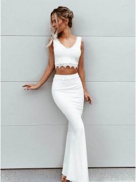 Two Piece V-Neck Sleeveless Floor-Length White Prom Dress with Lace