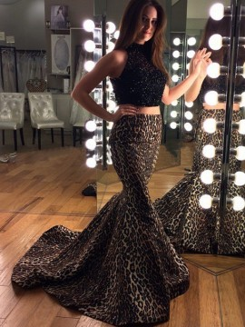 Two Piece High Neck Leopard Printed Mermaid Prom Dress with Lace Beading