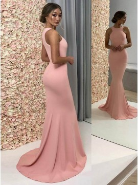Mermaid Crew Sleeveless Sweep Train Pink Prom Evening Dress