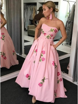 Ball Gown Sweetheart Pink Satin Prom Dress with Appliques Pockets