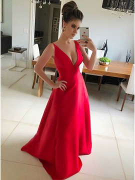 A-Line Deep V-Neck Sleeveless Red Satin Prom Dress