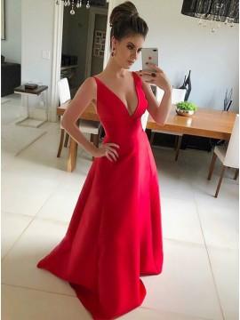 A-Line Deep V-Neck Sleeveless Red Satin Prom Dress