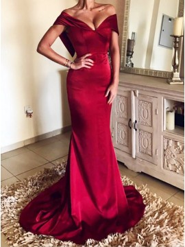 Mermaid Off-the-Shoulder Red Satin Prom Evening Dress with Sweep Train