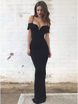 Elegant Mermaid Cold Shoulder Long Black Prom Dress with Sleeves