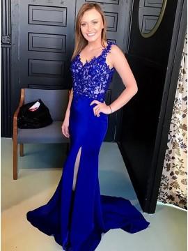 Mermaid V-Neck Royal Blue Evening Dress with Appliques Split