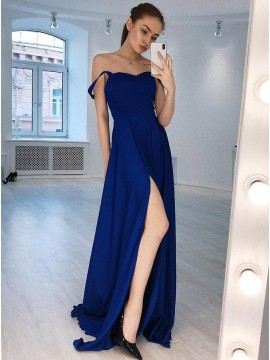 A-Line Straps Floor-Length Royal Blue Satin Prom Dress with Split