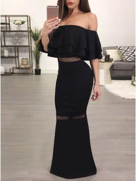 Mermaid Off-the-Shoulder Floor-Length Black Prom Dress with Ruffles