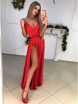 A-Line Deep V-Neck Floor-Length Red Stin Prom Dress with Split