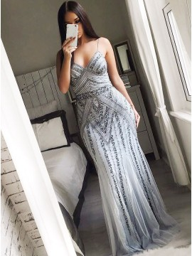 Sheath Spaghetti Straps Floor-Length Grey Prom Dress with Beading