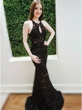 Mermaid Crew Open Back Sweep Train Black Keyhole Prom Dress with Beading