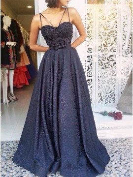 A-Line Spaghetti Straps Long Navy Blue Printed Satin Prom Dress with Beading