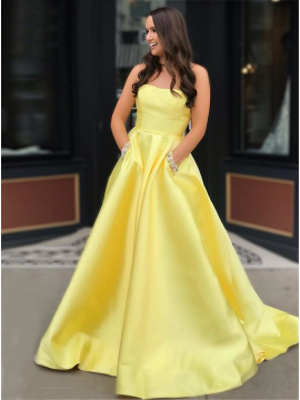 A-Line Strapless Yellow Prom Dress with Pockets Beading