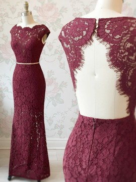 Sheath Burgundy Prom Dress with Sleeves Belt Open Back Lace Prom Gown