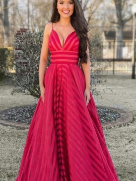 Stunning Spaghetti Straps Long Prom Dress Sleeveless Red Evening Dress