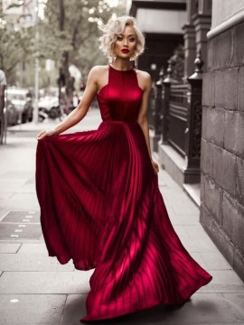 Jewel Open Back Chiffon Burgundy Prom Dress with Pleats Long Prom Gown