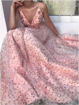 Gorgeous Spaghetti Straps Pink Prom Dress with Embroidery Beading Evening Dress