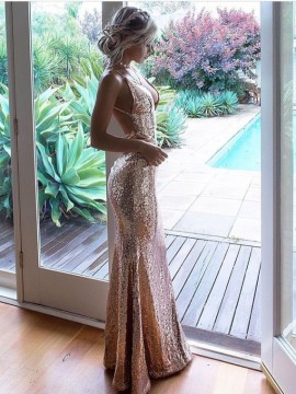 Sheath Spaghetti Straps Sequin Prom Dress Long Champagne Evening Dress