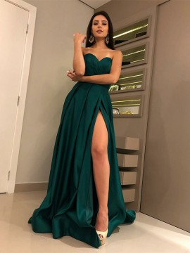 Charming Sweetheart Dark Green Prom Dress with Split Satin Long Prom Gown