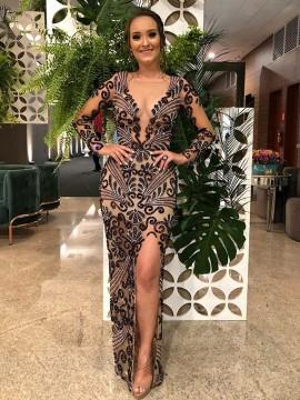 Gorgeous Backless V-Neck Black Prom Dress with Split Beading Evening Dress