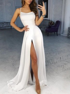 Simple White Prom Dress with Split Spaghetti Straps A-Line Long Prom Gown