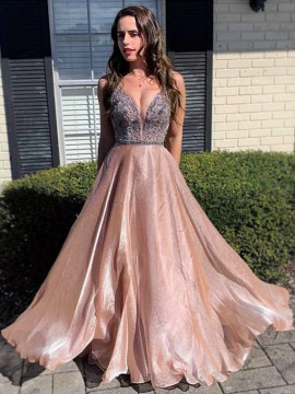 Sleeveless V-Neck A-Line Champagne Prom Dress with Beading Evening Dress