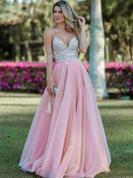 Spaghetti Straps Pink Prom Dress with Beading Long Backless Evening Dress