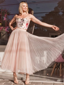 Cute Two Piece Prom Dress Spaghetti Straps Pearl Pink Floral Homecoming Dress