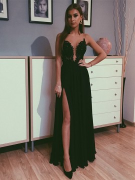 A-Line Chiffon Black Prom Dress with Appliques Beading Split Long Evening Dress