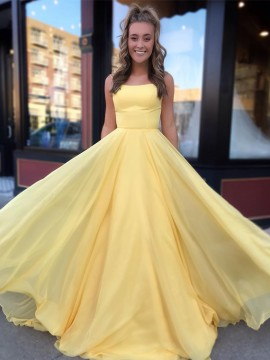 Simple Spaghetti Straps Yellow Prom Dress Sleeveless Long Party Dress