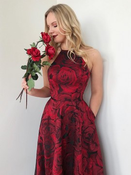 Halter Sleeveless Long Floral Prom Dress with Pockets Burgundy Party Dress