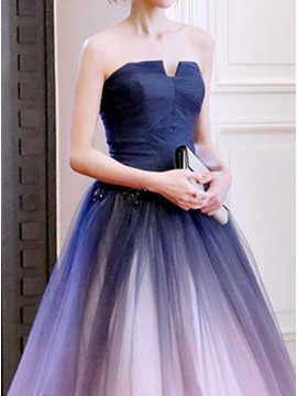 Strapless Long Prom Dress with Beading Ombre Evening Dress