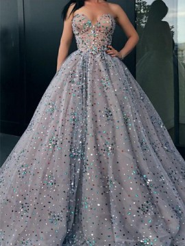 Charming Shinning Sweetheart Long Ball Gown Prom Dress with Rhinestone