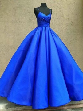 Spaghetti Straps Ball Gown Prom Dress Sleeveless Royal Blue Prom Gown