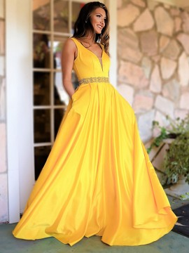 V-Neck Sleeveless Long Yellow Prom Dress with Pockets Beading Party Dress