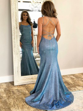 Spaghetti Straps Long Mermaid Prom Dress Sleeveless Blue Evening Dress