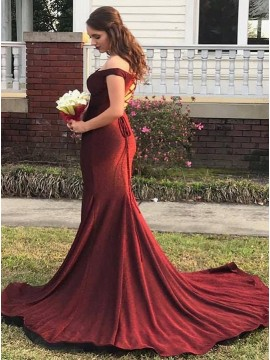 Off-the-Shoulder Burgundy Prom Dress with Sleeves Mermaid Evening Dress