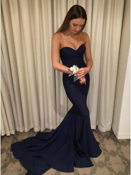 Elegant Sweetheart Long Navy Blue Sleeveless Mermaid Prom Dress