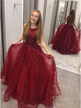 A-Line Crew Red Prom Dress with Appliques Beading Long Party Dress