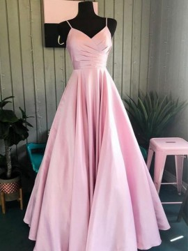 Simple A Line Satin Pink Long Prom Dress with Pockest