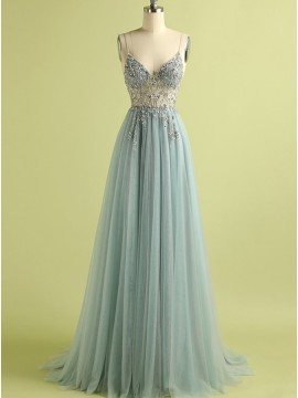 A-Line Spaghetti Straps Long Split Green Prom Dress With Beading