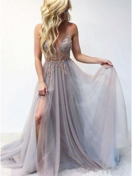 A-Line Spaghetti Straps Lavender Long Split Prom Dress With Beading
