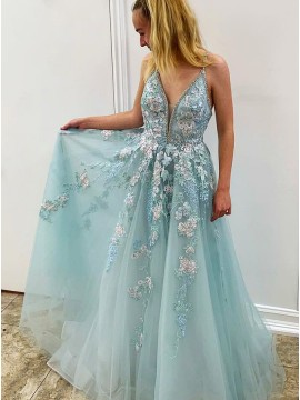 A-Line Long Appliques Light Blue Prom Dress for Teens