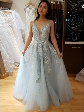 A-Line Long Appliques Light Blue Prom Dress for Teens