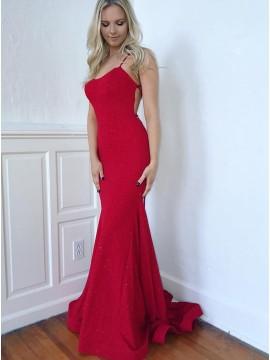 Spaghetti Straps Red Evening Dress Long Mermaid Prom Dress