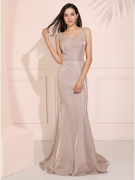 Square Long Mermaid Prom Dress Silver Evening Dress